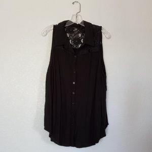 Torrid Black Collared Button Up With Lace